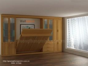 Giường 1,6x2m sồi tự nhiên kết hợp tủ WBT26