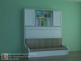 Giường gấp ngang gỗ tự nhiên kết hợp tủ, sofa